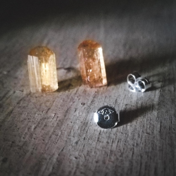 Uniquely Handcrafted Jewelry - Raw Imperial Topaz Sterling Silver Stud Earings